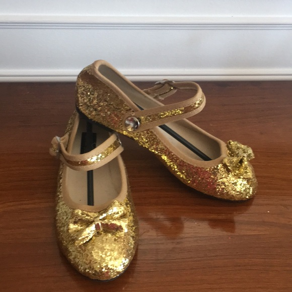 ab91d8b9ad8 Gold glitter Mary Jane girls shoes